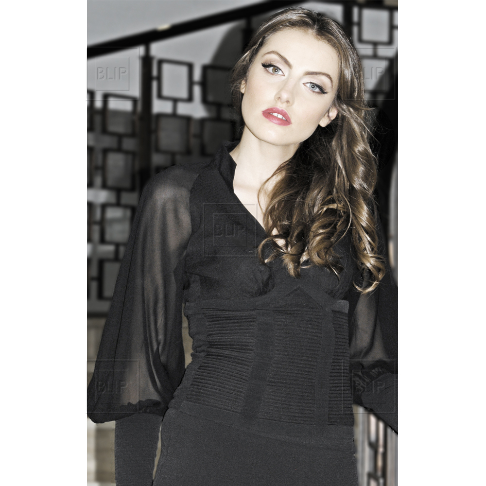 Black wide-sleeved blouse