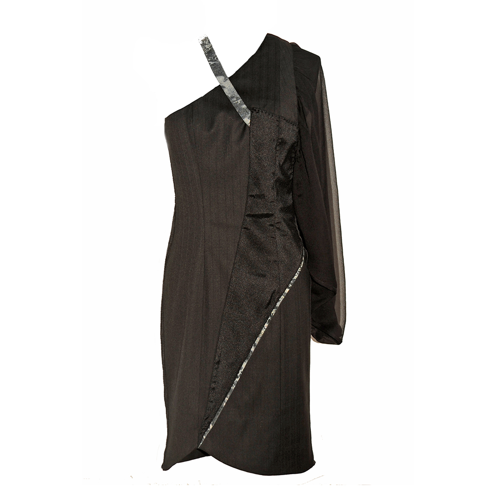 Assymetric dress with leather