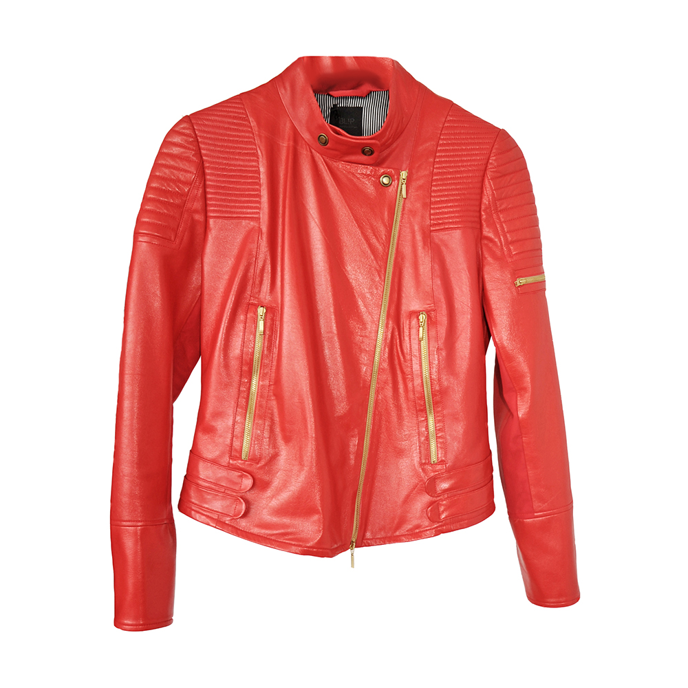 Red leather jacket with gold zips