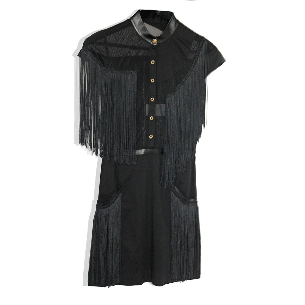 Macrame and leather tunic dress