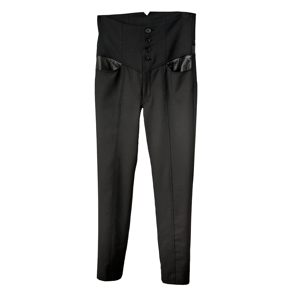 Hight-waist trousers with leather