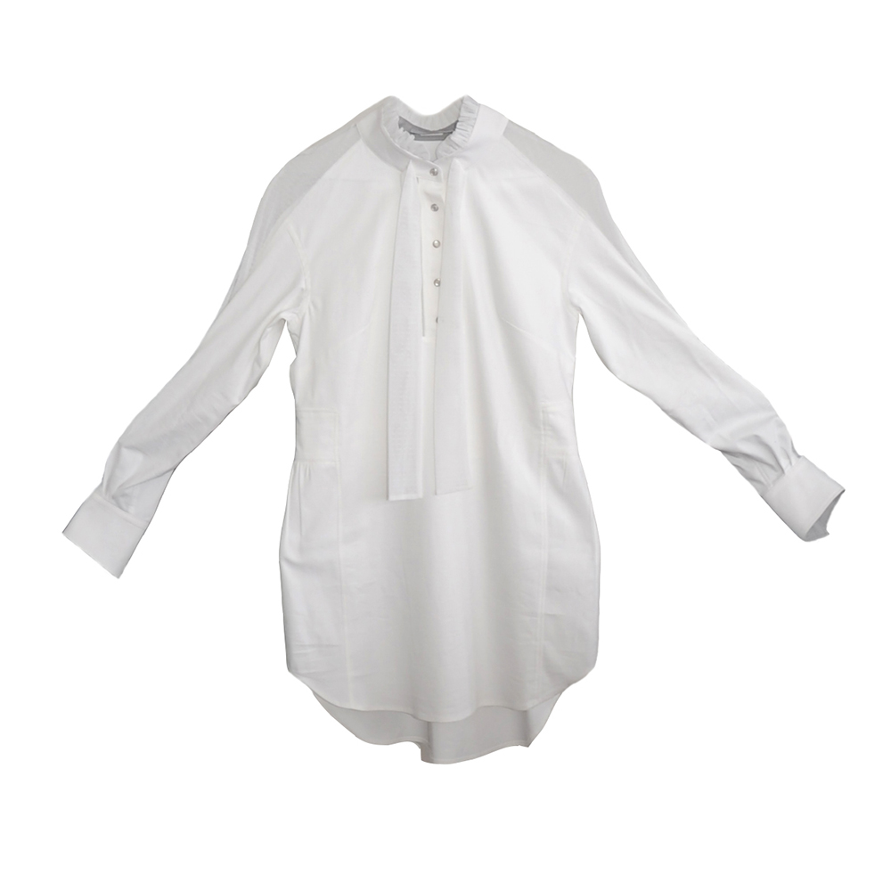 Solid white shirt with see-through parts