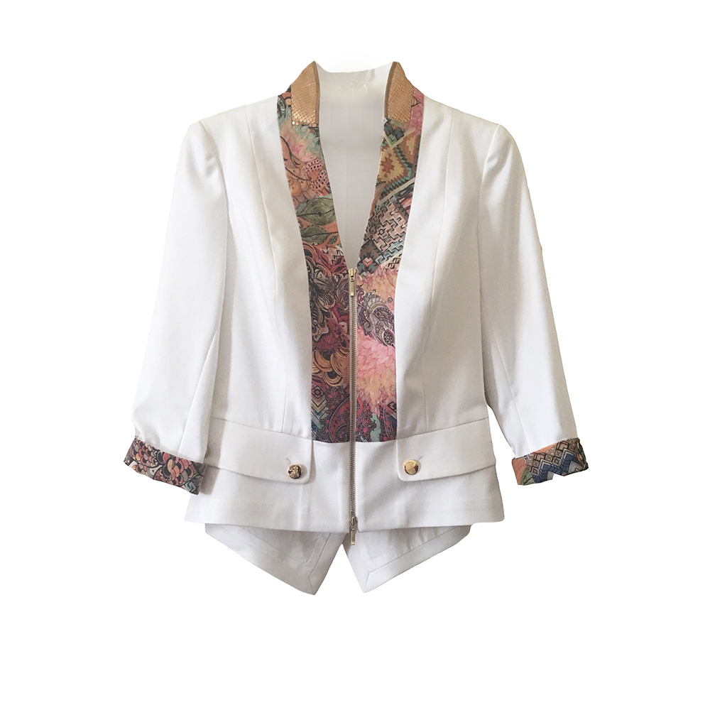 White stylish jacket with striking accents